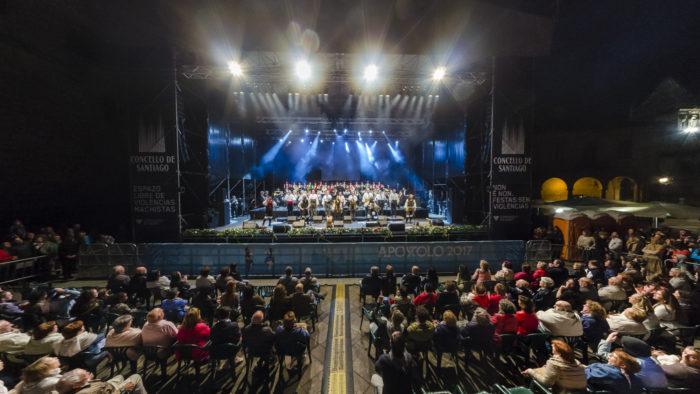 Foto 360 concerto Treixadura na Praza da Quintana, Santiago de Compostela