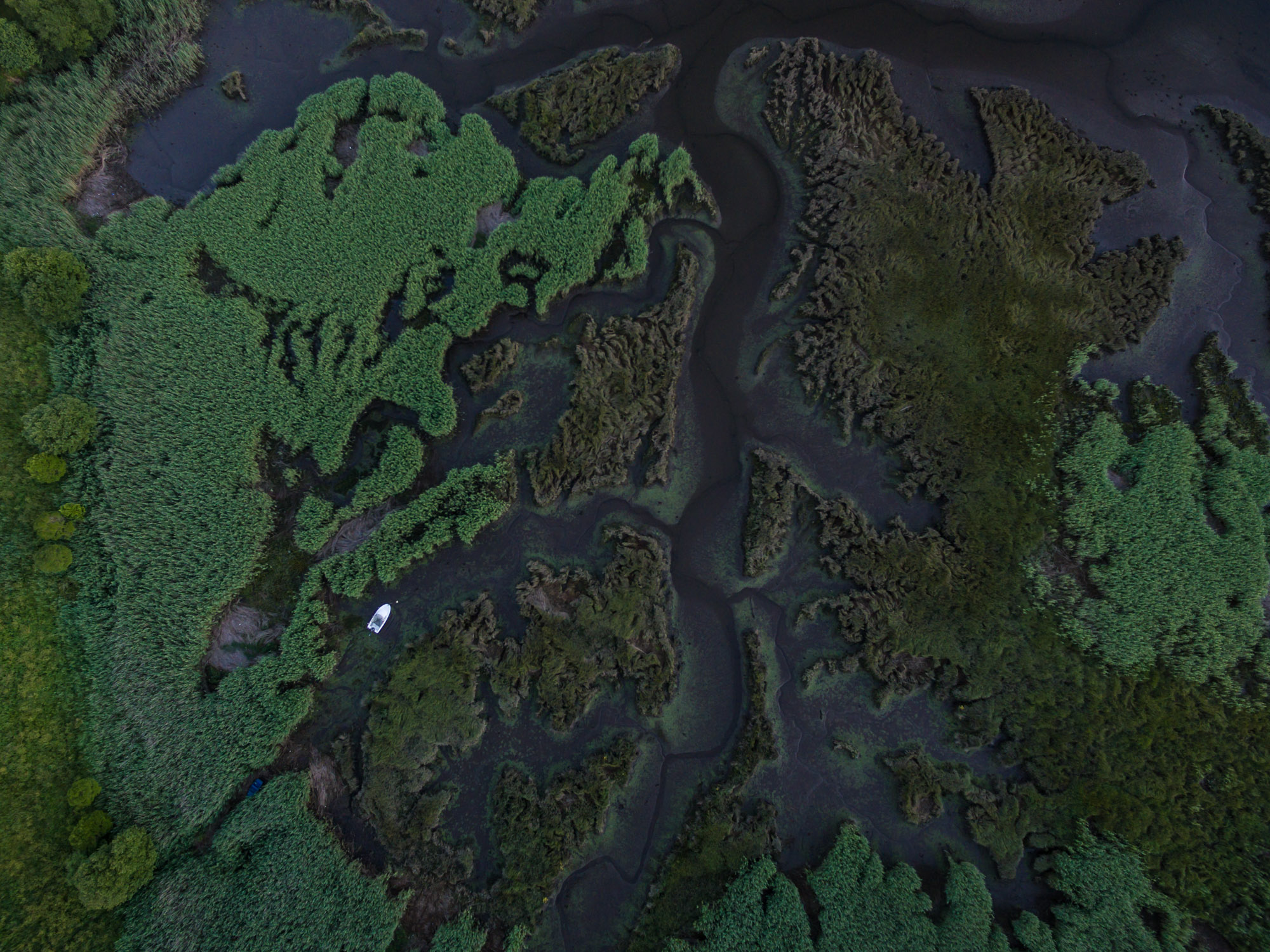 foto aérea con drone do esteiro do río Tambre