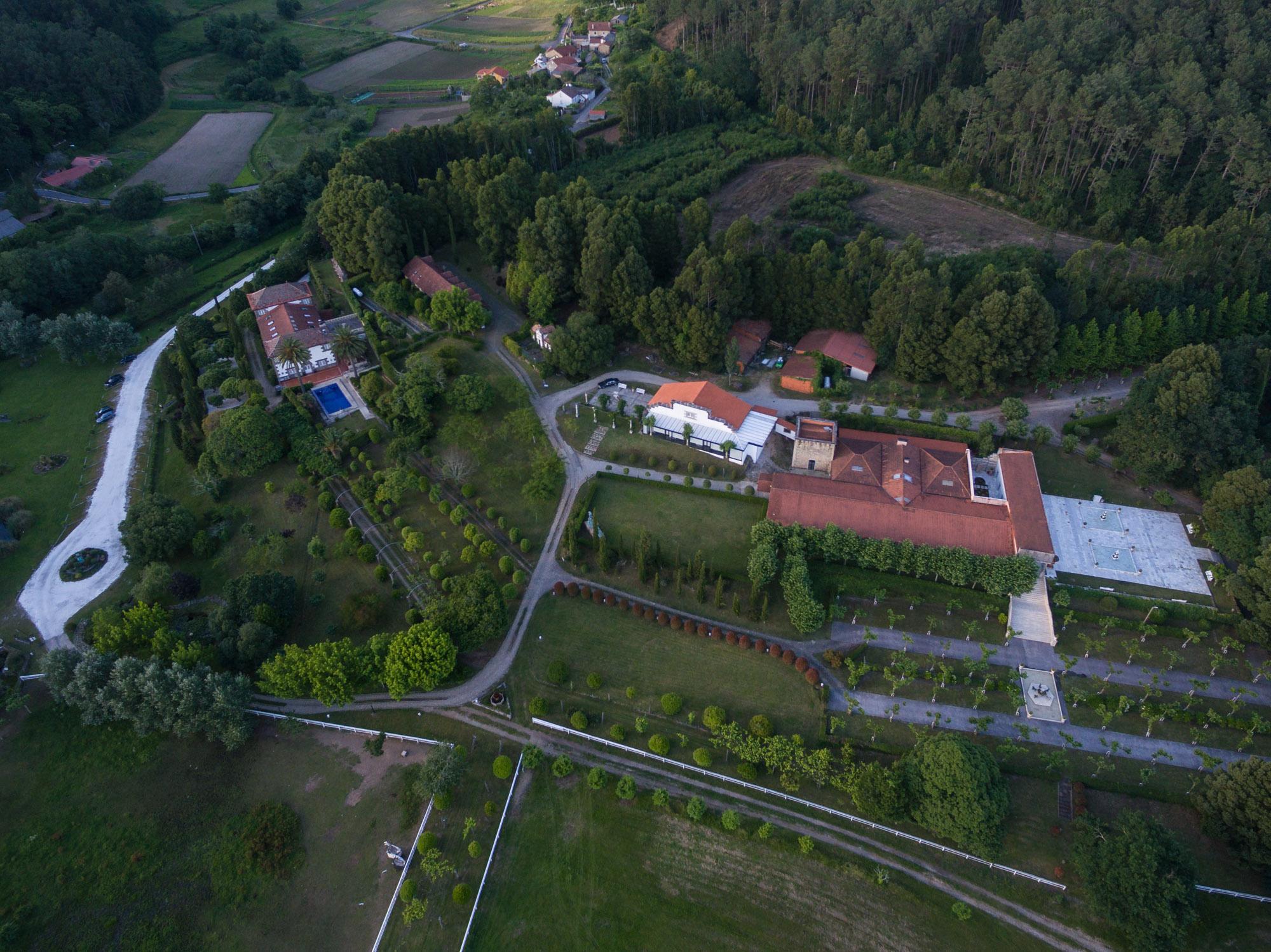 foto aérea con drone do Pazo do Tambre