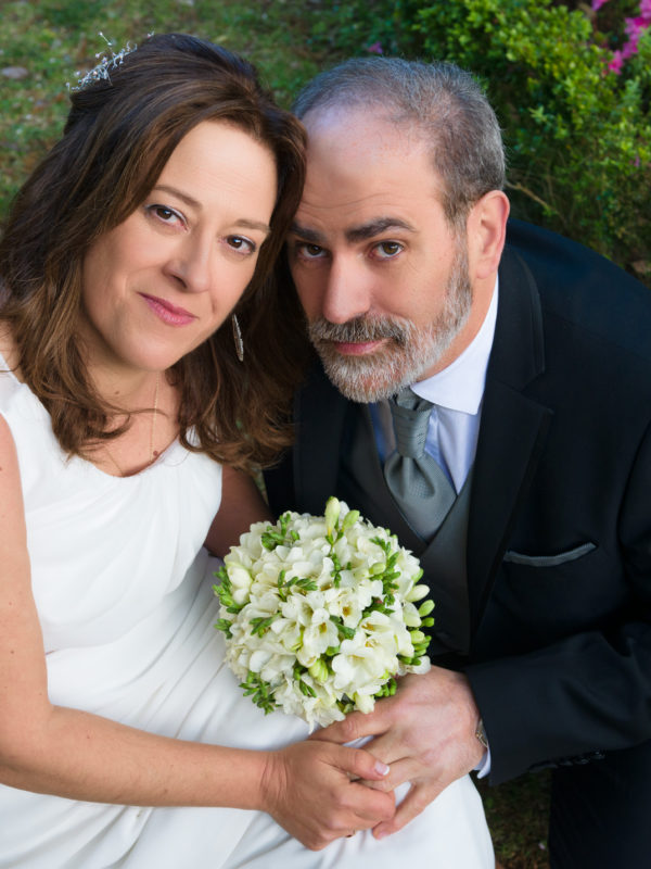Retrato dunha parella de boda durante a sesión de fotos realizada no pazo do Faramello